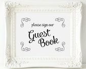 Guest Book Sign, Swirls Wedding Guest Book Sign - PRINTABLE Instant Download, Anniversary Guest Book Sign, Wedding Signage, 3 Sizes