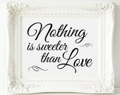 Nothing Is Sweeter Than Love Sign, Printable Wedding Candy Bar Sign, Dessert Table Sign, Candy Buffet Sign, Dessert Bar, Bridal Shower Sign
