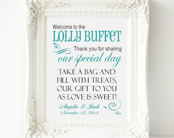Lolly Buffet Sign, Welcome to the Lolly Buffet Wedding Sign - Personalized Wedding Lolly Table Sign, Lolly Bar Sign