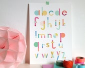 Alphabet print - ACB Poster for kids room, art print illustration for kids,  size A4 = 8, 27 x 11, 7""