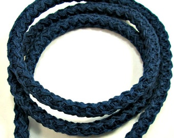 Blue cord, blue rope, blue woven cotton cord, blue woven cotton rope,  braided cotton cord, braided cotton rope, 12mm midnight blue cord(1m)