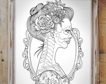 Adult Coloring Page Instant Download  - Skeleton Woman - Coloring Book - Day of the Dead Girl