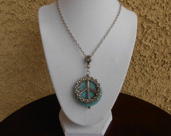 Flowered Peace Sign Necklace