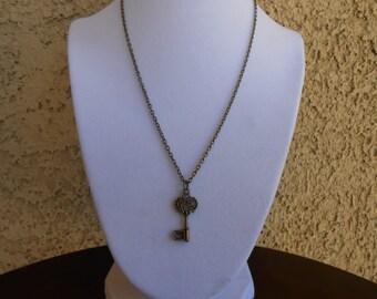 Antique Bronze Key Necklace