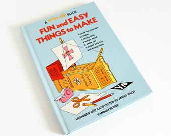 Vintage 1970s Childrens Pop- Up Book / Fun and Easy Things to Make Pop-Up Book by James Razzi 1975 Hc
