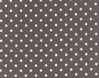 Prairie Fabric by MODA White Polka Dots Dot on Gray Grey