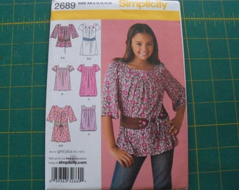 Simplicity 2689 Girls Dress or Tunic and Belt Sizes 8-16 sewing pattern