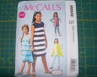 McCall's 6949 Girls Knit Cardigan Dresses Belt Leggings and Headband Sizes 7 8 10 12 14