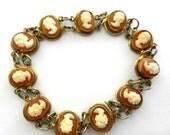 1940s Vintage silver 800 gold wash Cameo Link Bracelet - 11 genuine shell cameo Ladies exquisite old European bracelet --Art. 440/4 -