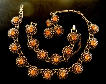 BOOK PIECE Vintage early  CORO  twisted rope medallion necklace,bracelet & earrings set - large round cut  topaz crystal - Art.249/3 -