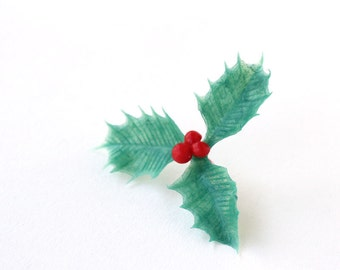 Holly Cupcake Picks, Christmas Cupcake Toppers (12)