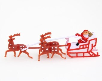 Santa and Reindeer Cake Topper, Small Santa Cake Decoration, Christmas Cake Decoration