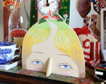 Hand painted plywood sculpture - Lady with Village on her Head XII