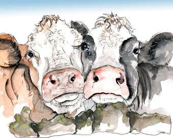 Cow Illustration Painting - Watercolor Art -6x4 Print- A4 print set in a mount-  farm, animal,art, painting,country, cattle,black,white, cow