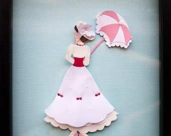 Beautiful Mary Poppins Jolly Holiday Disney Inspired Paper Wall Art