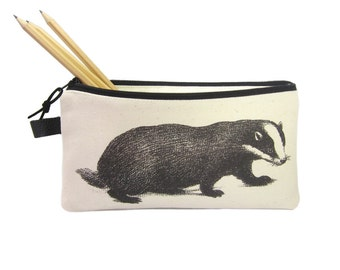 Pencil Case, Canvas Pencil Bag, Badger Pencil Case, Canvas Zip Pouch, Animal Pencil Case, Personalised Pencil Case, Pencil Pouch