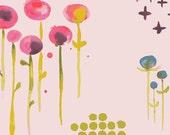 Floral Crib Sheets-Fitted-Pink-Haiku Lawn Poem Organic Monaluna Fabric-Baby Girl Modern Baby Bedding-Changing Pad Cover or Mini Crib Sheet