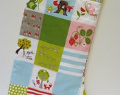 Quilted Christmas Stocking-Rustic-Woodland Fox Hollow-Gender Neutral-Red and Green