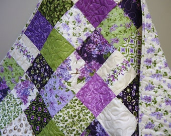 Baby Girl Quilt-Purple-Lavender-Lilac-Cream-Green-Traditional Floral Patchwork Crib Bedding-Homemade Baby Blanket