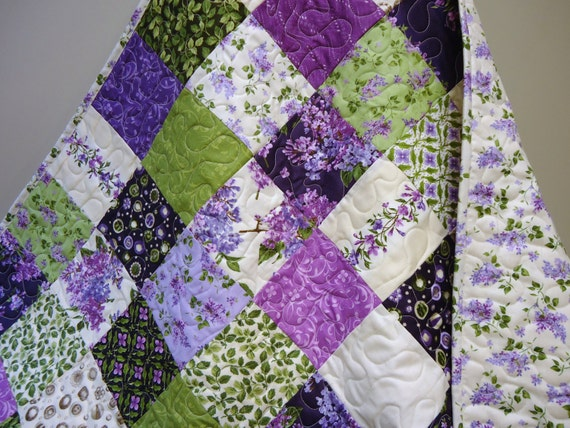 Baby Girl Quilt Purple Lavender Lilac Cream Green Traditional