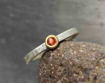 Simple Modern Padparadscha Sapphire Engagement Ring 22K Yellow Gold Silver Burnt Orange Red Genuine Gemstone Bridal Band - Creolean Circle