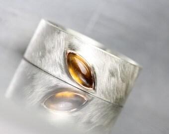 Modern Golden Brown Fall Leaf Wedding Band Tourmaline Silver 14k Rose Gold Wide Unisex Ring Marquise Gemstone Amber Autumn - Dravite Deltoid