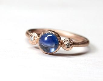 Elegant Blue Sapphire Diamond Engagement Ring 14K Rose Gold 3 Stone Bridal Band Cabochon Beaded Boho September Birthstone - Royal Rondelle