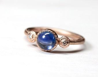 Elegant Blue Sapphire Diamond Engagement Ring 14K Rose Gold 3 Stone Bridal Band Cabochon Beaded Boho September Birthstone - Royal Rondelle
