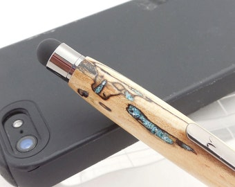 Wood Stylus, Spalted Maple with turquoise inlay