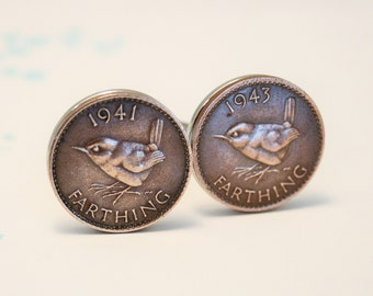 Coin cufflinks. Farthing cuff links. Bird cufflinks.  Wren cuff links. Choice of dates