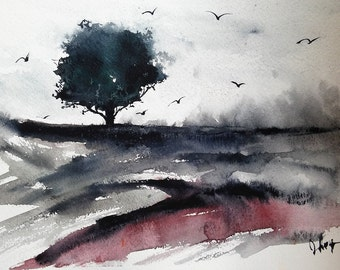 Original Watercolor painting, landscape print, watercolor painting,  painting,watercolor, abstract original