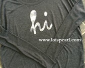 """Fall """"Hi"""" Tee with Flannel Applique"""