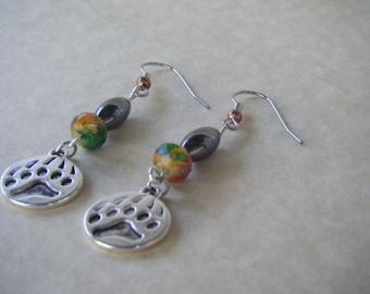 Bear Paw Earrings, Hematite Bead, Variegated Bead, Dangle Earrings