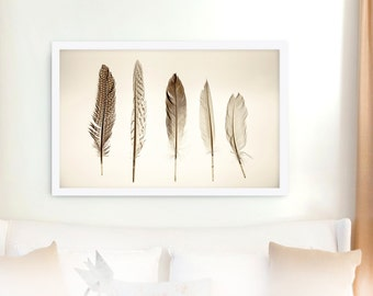 Feather Print // Modern Home Decor // Large Scale Photography // Feather Collection // Natural Colors // Neutral Colors