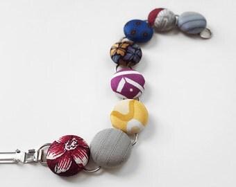 Necktie Button Bracelet Multicolor Bracelet Fabric Covered Button Bracelet Floral Button Bracelet Reclaimed Necktie Bracelet Gray Button