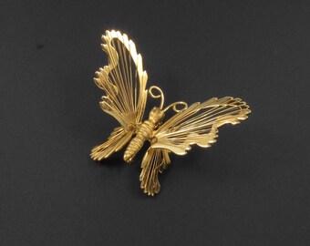 Napier Wire Work Butterfly Brooch, Wire Work Brooch, Gold Brooch, Insect Brooch, Bug Brooch