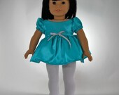 18 inch doll clothes,  Turquoise Green Satin Top and White Leggings, Made to Fit 18 inch dolls such as American Girl, 09-0477