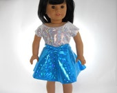 18 inch doll clothes, 2 piece outfit, White Sparkle Top with Blue Sparkle Skirt, Made to fit 18 inch dolls such as American Girl, 09-0484