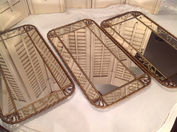 Gold Metal Wall Mirror: Gold Veined Vintage Mirrors Set Of Three Gold Metal