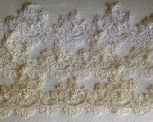 """Alencon trim beaded with sequences , lace for veils and craft projects 2.5"""" width in white ivory and champagne"""