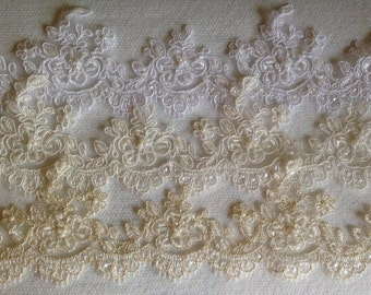 """Alencon trim beaded with sequences ,bridal  lace for veils and craft projects 2.5"""" width in white ivory and champagne, gentle bridal trim"""
