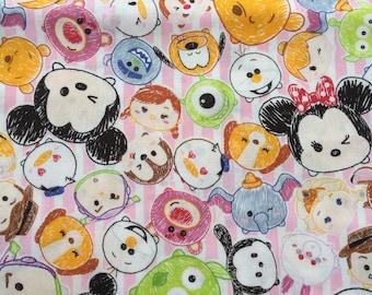 Disney Tsum Tsum Print Fabric, Japanese Cotton Fabric, 1 Yard, Kawaii Character, Disney Princess, Minnie & Mickey, Chip and Dale, Pooh, F3