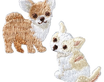 2 Small Brown Dog Embroidered Iron On Patch, Japanese Iron on Applique, Made in Japan, Kawaii Puppy, Animal Motif, Embroidery Applique, W045