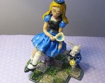 Alice in Wonderland Tea Time with White Rabbit Sculpture