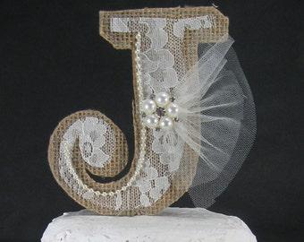 Burlap Monogram Cake Topper, Rustic Burlap Lace wedding topper, Burlap monogram m133 - rustic wedding cake decoration