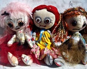 Creepy Cloth Doll Custom Colors Weird Goth Rag Doll You Choose Colors Made to Order