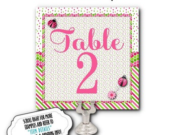 Table Number Cards, Food Label Cards, Bridal Shower, Baby Shower, Birthdays, Wedding, Lady Bugs, Hot Pink and Green