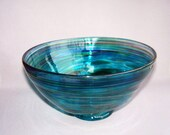 Hand Blown Art Glass Fruit ,Candy Bowl on Foot,Aqua, Green and Multicolored Top