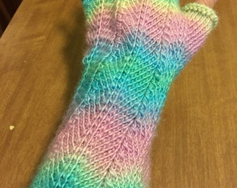Rainbow striped knit mitts / texting gloves