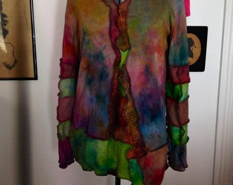 CUSTOM Made To Order Harry and The Hippe Chic One Of A Kind Patchwork Hand Dyed Sweater Pullover Hoodie